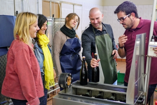 Degorging Cava on a Barcelona Day trip to a Cava winery with wanderbeak