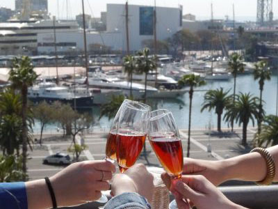 A perfect cheers with Cava overlooking Barcelona Marina on a Tapalicious Tapas Tour with Wanderbeak Barcelona